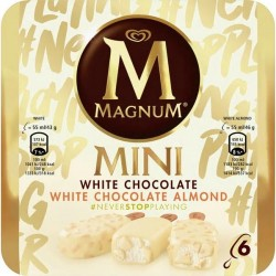 HELADO MAGNUM MINI WHITE MIX 300 G 6U