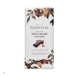 CHOCOLATE 70% CACAO C/NIBS  S.COLL 85 G