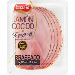 LONCHAS JAMON COCIDO BRASEADO 125G ESPUÑ